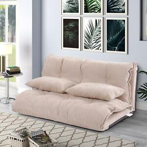 Foldable Floor Sofa Bed 5-Position Adjustable Lounge Couch with 2 Pillows Sofas
