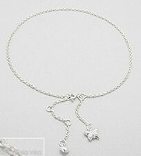 """9.5-11"""" Ankle Bracelet Solid Sterling Silver Butterfly and Heart Anklet 3g Cute"""