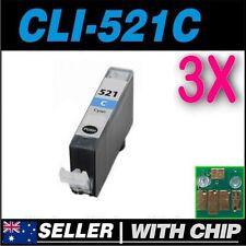 3x Cyan Ink for Canon CLI521 CLI-521C MP620 MP630 MP640 MP980 MP990 MX860 MX870