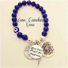 Lapis Evil Eye Guardian Angel Happiness Angel Wing Tree Of Life Rose Bracelet