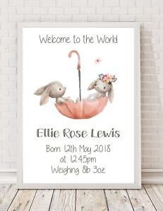 Personalised Baby Birth Christening Gift Keepsake A4 Poster Print PO56