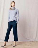 J Crew Pants Navy Cropped Cotton Blend Wide Leg Womens Size 0