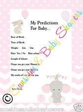 Baby Shower Juego predicciones Elefante Y Conejo Rosa Niña 20 Hojas Jugadores