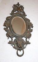 antique 1800's Victorian ornate figural bronze wall mount lion dolphin mirror