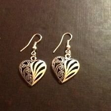 Hook heart earrings silver in colour