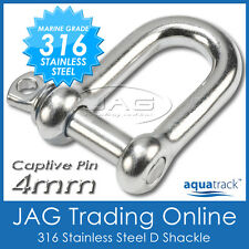 4mm 316 STAINLESS STEEL CAPTIVE PIN DEE D-SHACKLE M4 - Boat/Marine/Sail Shade
