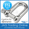 4mm 316 STAINLESS STEEL CAPTIVE PIN DEE D-SHACKLE M4 SS - Boat/Marine/Shade/Sail