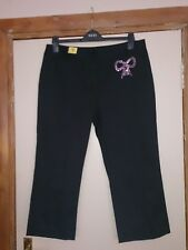 Black Trouser with Pink Diamante Bow, size 16, from New Look