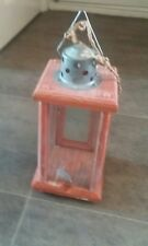 Classic Hanging Wood Carriage Lantern Candle Tea Light Holder Vintage