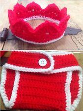 Disfraz Crochet Conjunto  Bebe Recién Nacido Atrezo Fotografía Ganchillo Rojo