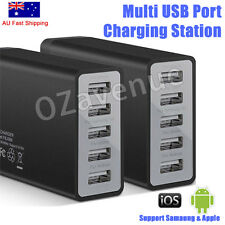 5 Ports USB Wall AC Charger Adapter Cable for IPAD iPhone 8 7 6s Samsung AU Plug