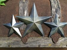 "Set of 3~ Hammered BLACK BARN STARS 8""/5.5"" PRIMITIVE RUSTIC COUNTRY Handcrafted"