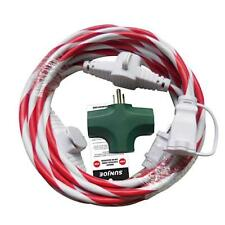 Sun Joe Indoor + Outdoor Extension w/Cord Connect Adapter | Candy Cane | 25-Foot