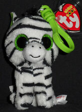 TY BEANIE BOOS - ZIG-ZAG the ZEBRA KEY CLIP - MINT with MINT TAGS - GLITTER EYES