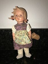 "Vintage Hummel Goebel Vinyl Doll Germany Girl with Straw Basket 11"" tall"