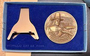 """1976 U.S. Bicentennial in Connecticut Medallic Art 2.50"""" Bronze Medal - In Box"""