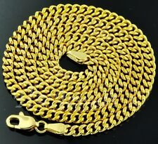 18k solid yellow gold flat curb link chain necklace 8.00 grams 22 inches