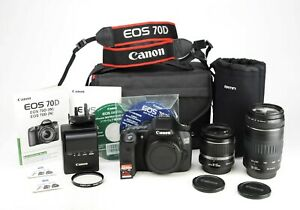 Canon 70D DSLR Camera Dual Lens Kit > 18-55mm & 90-300mm < Only1,130 Shots taken