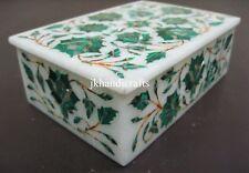 "4""x3""x2"" Marble Jewelry Storage Box Malachite Mosaic Floral Hallway Decor Gift"