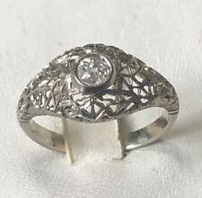 Ring Years 30' White Gold 18 Kt. with Diamond Cut Antique