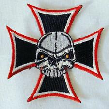 IRON CROSS SKULL EMBROIDERED PATCH P111 iron on sew biker JACKET patches  NEW