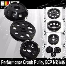 EMUSA Aluminum Performance Black Crank Pulley Kit for Nissan 240SX S14 S15 SR20