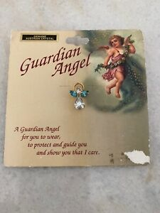 Guardian Angel Pin With Austrian Crystal Stones Inscription On Back