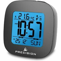 Precision Radio Controlled  LCD Backlit ALARM Date Temperature Clock HighQuality