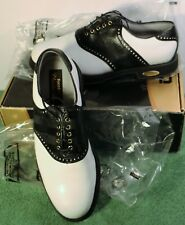 NEW IN BOX Mens 10.5 D M FootJoy Classics Tour Style 51807 Whit/Black Golf Shoes