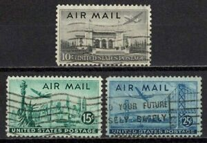US 1947 #C34-C35-C36 - Statue of Liberty-SF Bridge Air Mail Set of 3 Used XF