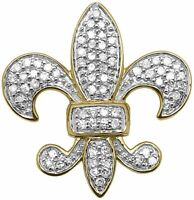 0.35 Ct Round Diamond Pave Set Fleur De Lis Charm Pendant 14k Yellow Gold Finish