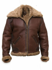 Men's B-6 Aviator Faux Shearling Pilot BrownSkin Sheepskin Leather Jacket