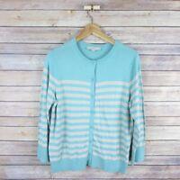 ANN TAYLOR LOFT Women's Wool Blend Cardigan Sweater L Large Beige Blue Striped