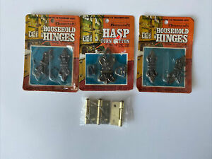 Vintage Homecraft Household Hinges 2-#8 + #11 Hasp Turn Button + 3 Brass Hinges
