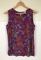 CAbi Purple Palm Grass Print Sleeveless Tunic Blouse Size Large Keyhole Back Top