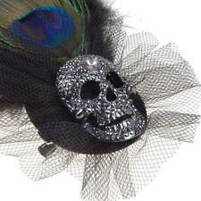 Peacock Feather Rhinestone Skull Brooch w/ Pin And Alligator ip Black B4M7