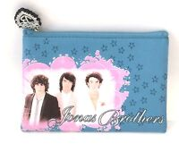 Jonas Brothers Pic Blue Zip Makeup Coin Purse Hand Bag New Official Merch Wallet