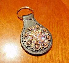 Crystal Leather Key Fob Keychain Metal Concho Western Souvenir Crystal Stone New