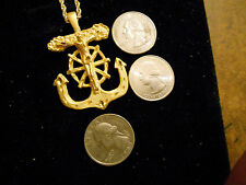 bling gold plated navy sailors cross boat anchor pendant charm necklace jewelry