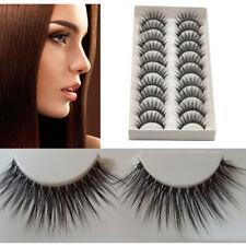 10 Pairs Natural Eye Lashes Handmade Makeup Thick Fake Cross False Eyelashes Hot