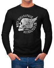 Herren Longsleeve Motorrad Biker Totenkopf Skull Wings Vintage Langarmshirt