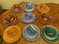 Vintage 9 Cups 9 Saucers 9 Cake Plates German V&B Lettin Porcelain Coffee Set