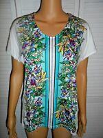 Pretty Talbots size S white floral short sleeve v-neck t-shirt women NWOT