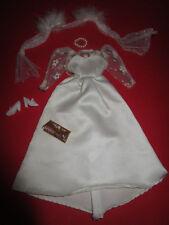 3) antiguo vintage vestido de novia + estola + clutch + viejos zapatos barbie u.a.29cm Mode muñecas