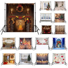 LB 10X10FT Vinyl Studio Backdrop Background Rustic Wood Wall Xmas Tree Fireplace