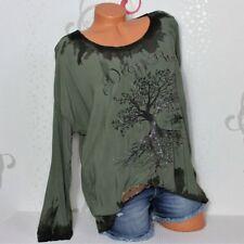 Damen Pullover Tunika T-Shirt Bluse Lebensbaum Glitzer Batik  38 40 42  Italy