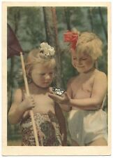 1955 GIRLS & BUTTERFLY Kids HAIRSTYLE Postal stamp USSR Rare Russian Postcard