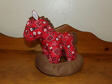 "HTF 11"" NEN National Entertainment Network Plush Red Paisley Rocking HORSE"