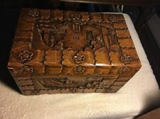 Mahogany Hand Carved Wooden Box