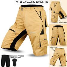 MTB Cycling Short off Road Cycle Bicycle Coolmax Padded Liner Shorts S to XXL Tan Medium